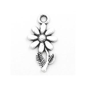 Antique Silver Tibetan Zinc Sunflower Pendants 27mm Pack Of 15 ZX04515