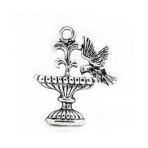 Antique Silver Tibetan Zinc Bird Fountain Charms 21mm Pack Of 15 ZX04550