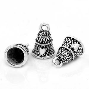 Antique Silver Tibetan Zinc Thimble Charms 19mm Pack Of 10 ZX04575