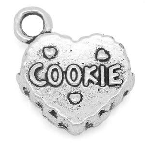Antique Silver Tibetan Zinc Cookie Charms 14mm Pack Of 10 ZX04665