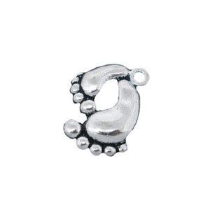 Antique Silver Tibetan Zinc Feet Charms 20mm Pack Of 10 ZX04730
