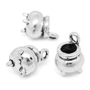 Antique Silver Tibetan Zinc Cauldron Charms 12mm Pack Of 2 ZX04770