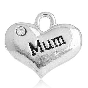 Antique Silver Zinc Rhinestone Mum Charms 18mm Pack Of 5 ZX04840