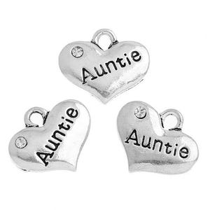 Antique Silver Zinc Rhinestone Auntie Charms 18mm Pack Of 5 ZX04900