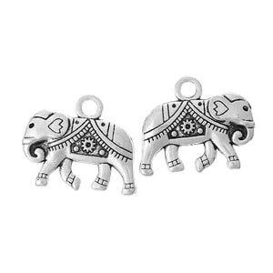 Antique Silver Tibetan Zinc Elephant Charms 21mm Pack Of 5 ZX04945