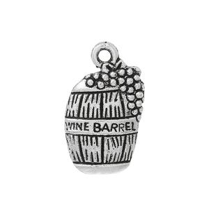 Antique Silver Tibetan Zinc Wine Barrel Charms 19mm Pack Of 5 ZX04985