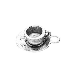 Antique Silver Tibetan Zinc Cup And Saucer Charms 19mm Pack Of 5 ZX05015