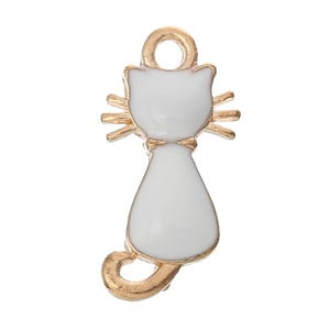 White/Rose Gold Enamel & Alloy Cat Charms 22mm Pack Of 2 ZX05020