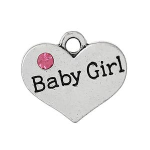 Antique Silver Zinc Rhinestone Baby Girl Charms 18mm Pack Of 5 ZX05150