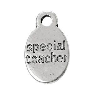 Antique Silver Tibetan Zinc Special Teacher Charms 15mm Pack Of 10 ZX05335