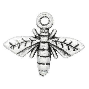 Antique Silver Tibetan Zinc Bee Charms 17mm Pack Of 20 ZX05370