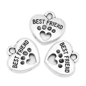 Antique Silver Zinc Alloy Best Friend Charms 15mm Pack Of 5 ZX05375