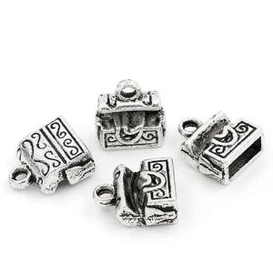 Antique Silver Tibetan Zinc Treasure Chest Charms 12mm Pack Of 10 ZX05410