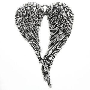 Antique Silver Tibetan Zinc Angel Wings Pendant 70mm  ZX05415