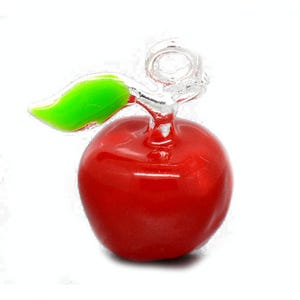 Red/Green Enamel & Alloy Apple Charms 19mm Pack Of 4 ZX05605