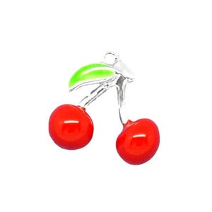 Red/Green Enamel & Alloy Cherry Charms 16mm Pack Of 3 ZX05615