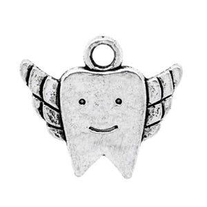 Antique Silver Tibetan Zinc Tooth Charms 20mm Pack Of 10 ZX05640
