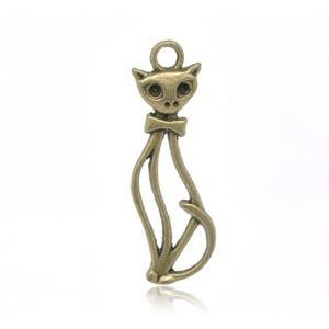 Steampunk Antique Bronze Tibetan Zinc Cat Pendants 34mm Pack Of 10 ZX05810