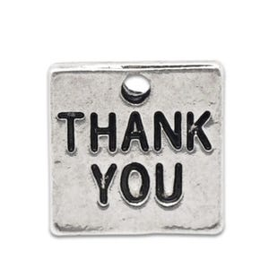Antique Silver Tibetan Zinc Thank You Charms 12mm Pack Of 5 ZX05825