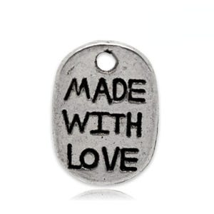 Antique Silver Tibetan Zinc Made With Love Charms 11mm Pack Of 30 ZX05875