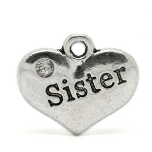 Antique Silver Zinc Rhinestone Sister Charms 18mm Pack Of 5 ZX05935