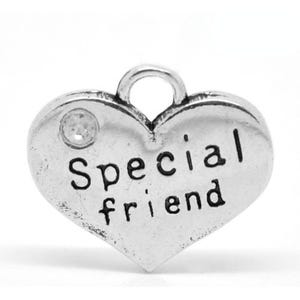 Antique Silver Zinc Rhinestone Special Friend Charms 18mm Pack Of 4 ZX06020