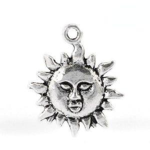 Antique Silver Tibetan Zinc Sun Charms 23mm Pack Of 10 ZX06125