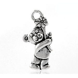 Antique Silver Tibetan Zinc Teddy Bear Charms 19mm Pack Of 12 ZX06145