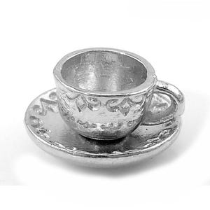 Antique Silver Tibetan Zinc Cup Charms 14mm Pack Of 5 ZX06155