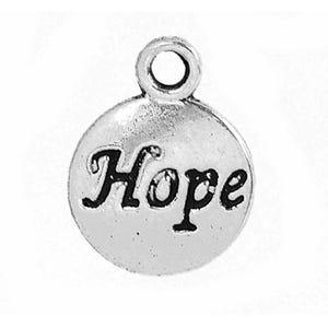 Antique Silver Tibetan Zinc Hope Charms 15mm Pack Of 10 ZX06165