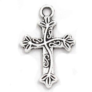 Antique Silver Tibetan Zinc Christian Cross Charms 20mm Pack Of 10 ZX06270