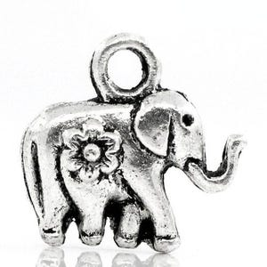 Antique Silver Tibetan Zinc Elephant Charms 12mm Pack Of 8 ZX06310