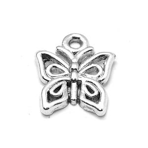 Antique Silver Tibetan Zinc Butterfly Charms 15mm Pack Of 30 ZX06390