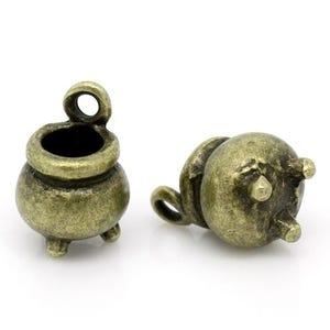 Steampunk Antique Bronze Tibetan Zinc Cauldron Charms 12mm Pack Of 2 ZX06440