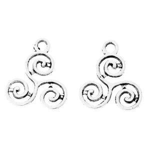Silver Tibetan Zinc Celtic Knot Triskelion Charms 16mm Pack Of 30 ZX06915
