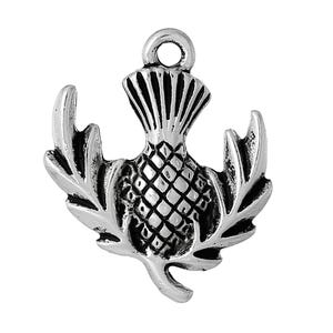 Antique Silver Tibetan Zinc Thistle Charms 24mm Pack Of 5 ZX06945