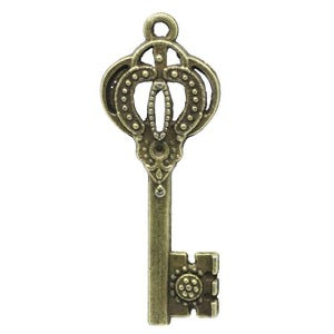 Steampunk Antique Bronze Tibetan Zinc Key Pendants 44mm Pack Of 10 ZX06970