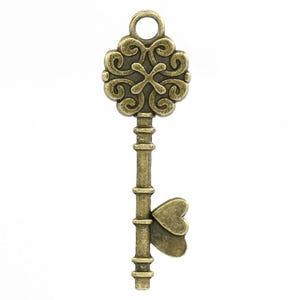 Steampunk Antique Bronze Tibetan Zinc Key Pendants 34mm Pack Of 10 ZX07010