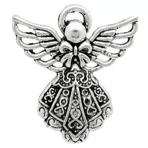 Antique Silver Tibetan Zinc Angel Pendants 26mm Pack Of 10 ZX07090