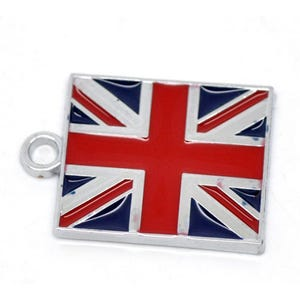 Red/Blue Enamel & Alloy Flag Of Uk Charms 22mm Pack Of 2 ZX07190
