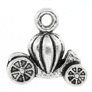 Antique Silver Tibetan Zinc Pumpkin Carriage Charms 13mm Pack Of 10 ZX07250