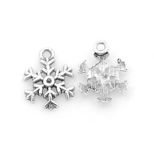 Antique Silver Tibetan Zinc Snowflake Charms 13mm Pack Of 20 ZX07280