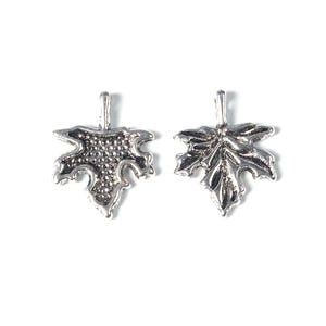 Antique Silver Tibetan Zinc Maple Charms 17mm Pack Of 25 ZX07355