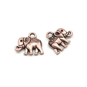Red Copper Tibetan Zinc Elephant Charms 14mm Pack Of 10 ZX07400