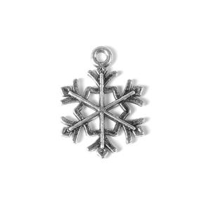 Antique Silver Tibetan Zinc Snowflake Charms 21mm Pack Of 10 ZX07525