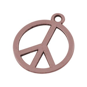 Red Copper Tibetan Zinc Peace Sign Charms 14mm Pack Of 30 ZX07570