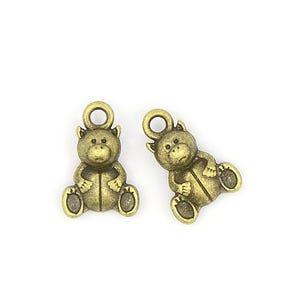 Steampunk Bronze Tibetan Zinc Teddy Bear Charms 16mm Pack Of 20 ZX07685