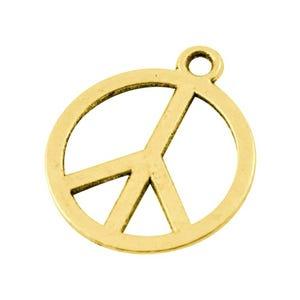 Antique Gold Tibetan Zinc Peace Sign Charms 14mm Pack Of 25 ZX07775