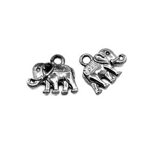 Black Tibetan Zinc Elephant Charms 14mm Pack Of 10 ZX07785