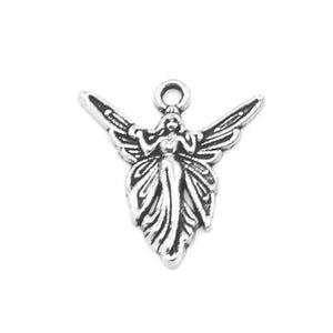 Antique Silver Tibetan Zinc Fairy Charms 20mm Pack Of 15 ZX07895